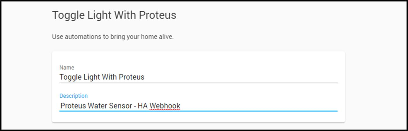 Proteus Home Assistant Setup Guide automation start